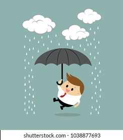 Vector of Businessman with Umbrella Standing Under the Rain