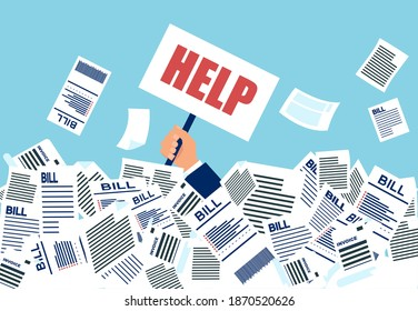 Vector of a businessman under a lot of bills in his office asking for a help.