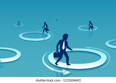 Vector of a businessman walking inside circle. Business challenge and difficulty concept