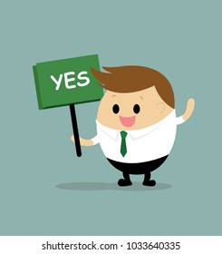 "Vector of businessman with ""YES"" signbroad"