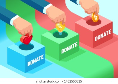 Vector of businessmen hands contributing money, idea, moral support: coin, light bulb and heart into the fundraising box. Concept of donation for social needs