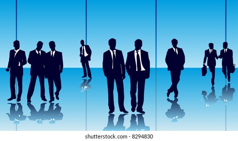 Vector of businesspeople in a glass office building