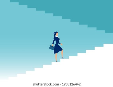 Vector of a businesswoman climbing up the stairs of success