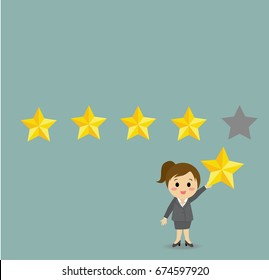 Vector of businesswoman giving five star rating