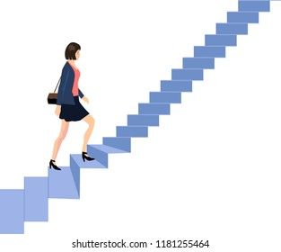 Vector - Businesswoman Go Up  Stair Illustration