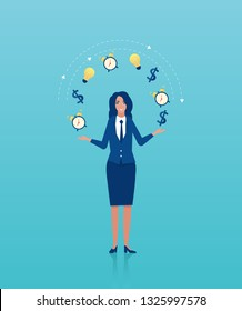 Vector of a businesswoman juggling business icons. Concept of multitasking and time management in business