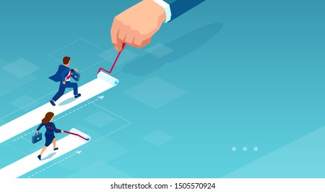 Vector of a businesswoman painting her own career path while businessman being supported by corporate culture