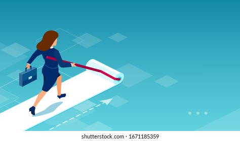 Vector of a businesswoman painting her own career path