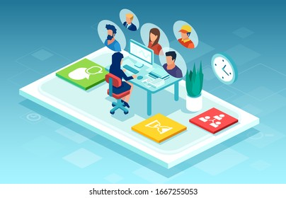 Vector of a businesswoman sitting at desk working on computer chatting online with team members