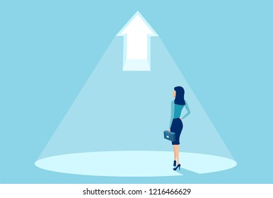 Vector of a businesswoman standing in light of a bright arrow. Concept of a business success and growth