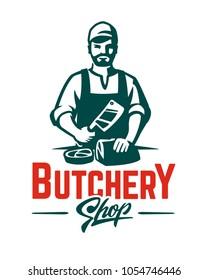 Vector Butcher emblem. Monochrome style logo illustration.