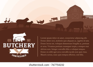 Vector butcher shop illustration with rural landscape and farm animals