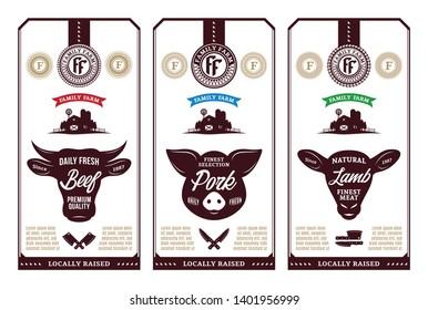 Vector butcher's shop logo. Fresh beef, pork, lamb modern style labels. Farm animals icons.