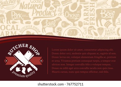 Vector butchery illustration with many meat icons and farm animals