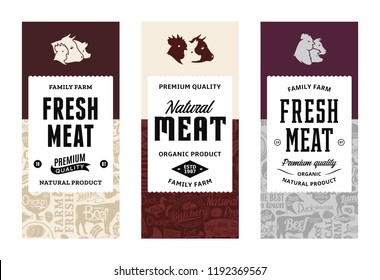 Vector butchery logo. Fresh beef, pork, chicken modern style labels. Farm animals icons. Butcher shop pattern and design elements.