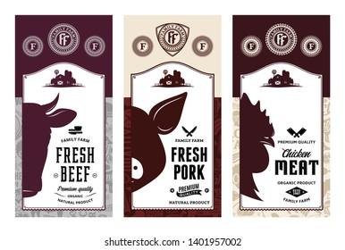 Vector butchery logo. Fresh beef, pork, chicken modern style labels. Farm animals icons. Butcher shop pattern and design elements.