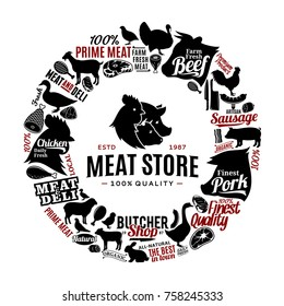Vector butchery logo, icons and farm animals silhouettes