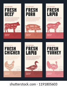 Vector butchery modern style labels. American (US) cuts of beef, pork, lamb, chicken, duck and turkey diagrams.