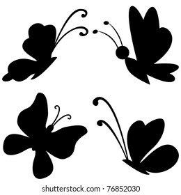 Vector, butterflies with opened wings, black silhouettes on white background