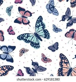 Vector butterflies pattern. Abstract seamless background.