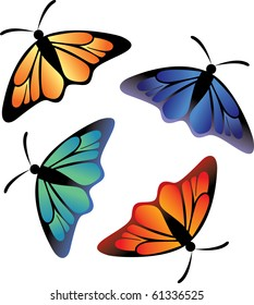 Vector of butterfly collection on a white