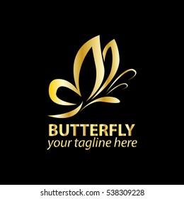 Vector Butterfly Icon Logo Gold Isolated Dark or Black Bakcground