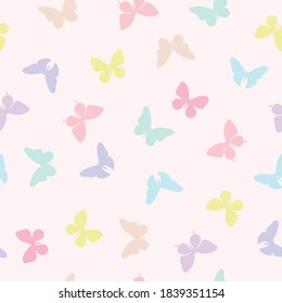 Vector butterfly seamless repeat pattern design background. Random colorful butterfly silhouette, cute girly pastel pattern.