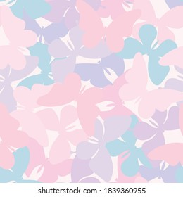Vector butterfly seamless repeat pattern design background. Pastel girly pattern background. Random butterfly silhouettes.