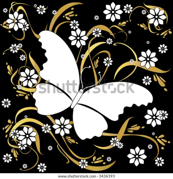 Vector Butterfly soaring over a field of flowers. Unique graphic in white and gold on a background.