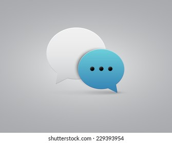 Vector button blue and white speech bubbles icon with gray shadow on white background