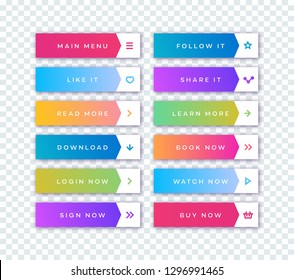 Vector button set modern gradient style with shadow isolated on transparent background for web site, ui, mobile app. Call to action icon button. vector 10 eps