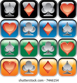 vector buttons with playing cards