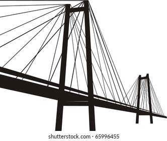 Vector  cable-stayed suspension bridge - black silhouette, isolated  illustration on white background