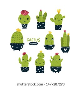 Vector cactus clipart set Kawaii illustration Cute succulent with face Children print collection on white background