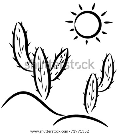 Vector Cactus Desert Clipart Stock Vector Royalty Free 71991352