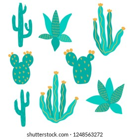 vector cactus exotic pricky childish funny plant element set pattern for kids on white for design paper textil