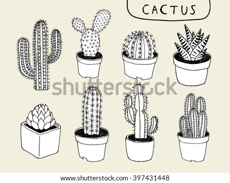Vector Cactus Hand Draw Stock Vector Royalty Free 397431448