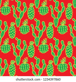 Vector cactus hand drawn seamless pattern. Green with gold line on a red background. New Year and Christmas palette.