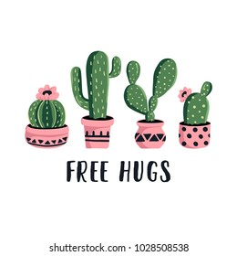 Vector cactus illustration in the boho style. Cute hand drawn green cacti in pink pots for poster, card, cover, bag and t-shirt print.
