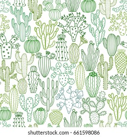 Vector cactus plant seamless pattern. Cacti flower background. Green floral print