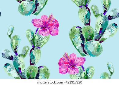 Vector cactus, tropical flowers, hibiscus, seamless floral pattern background