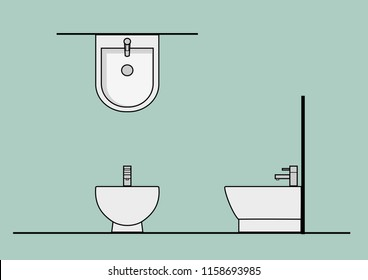 Vector CAD Blocks style Sanitary ware in Top Front Side view used in architecture presentation