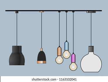 Vector CAD Blocks style set of Pendant Lamp used in architecture presentation