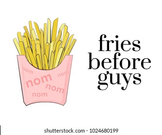 Vector cafe poster french  fries before guys. Cool modern fast food illustration. Potato pink package, good for pin, stickers, tshirt design