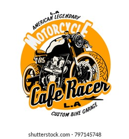 vector cafe racer illustration print