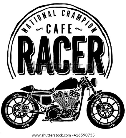Vector Cafe Racer Motorcycle Rider Bike Stock Vector Royalty Free