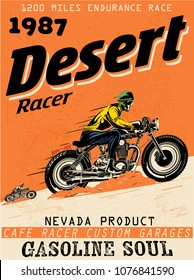 vector cafe racer nevada race print and poster set