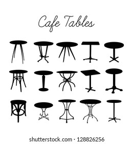 Vector cafe table collection, silhouette bar stools