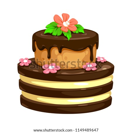 Vector Cake Chocolate Biscuit Cakes Flowers Stock Vector Royalty
