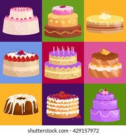Vector cake icon set, Birthday food, sweet dessert, isolated illustration.